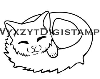 Cute Sleeping cat digistamp instant download coloring page