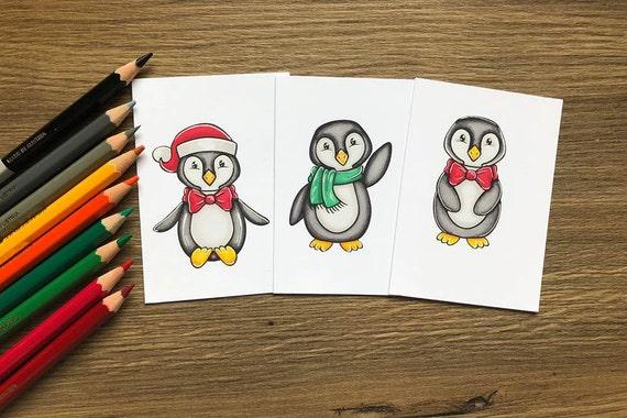 Cute Penguin Digistamp Set Cute Penguin Coloring Pages Cute Etsy