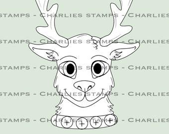Christmas reindeer digistamp
