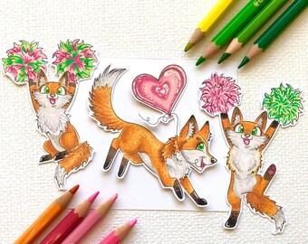 Digistamp set foxes cheering / cheerleader digistamp set / digital stamps / printable foxes / Cute printable digital stamps / happy foxes