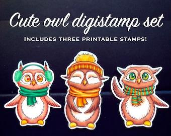 Cute owls digital stamp set/Digistamp animal set/Adorable printable digistamp set/Christmas printable stamp set/printable graphics/