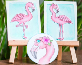 Adorable flamingo digistamps/ tropical digital stamps/ cute bird stamp set/ instant download flamingos/printable flamingo clip art/
