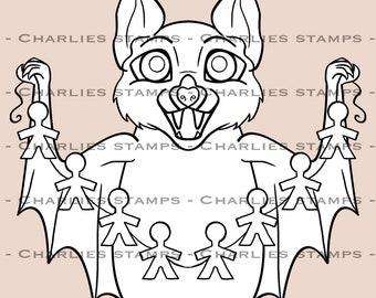 Cute funny halloween bat/ Halloween digistamp/ bat digistamp/ cute bat digistamp