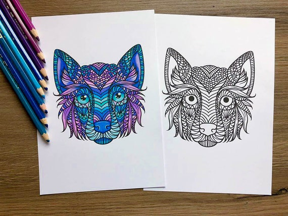 Howling Wolves color page | Wolf colors, Animal coloring pages ... | 428x570