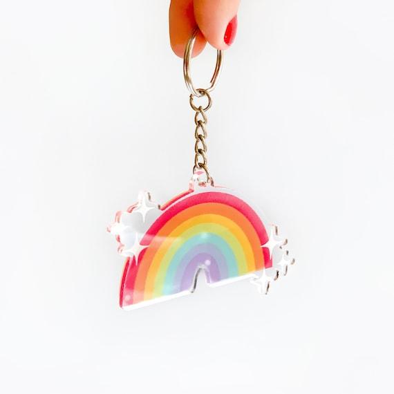 Conservation Rainbow Keychain Acrylic Keychain Boho Rainbow Acrylic Keychain