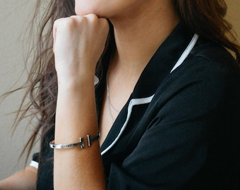 T Cuff Silver Bracelet
