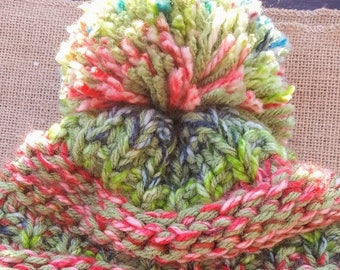 Adorable Fun MultiColor Knit Hat with Pom Pom