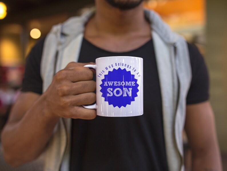 This mug belongs to an awesome son  Christmas gift for son image 0
