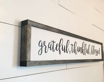 Unfinished Wood Inspirational Quotes Wall Sign Thankful Grateful Blessed Sign