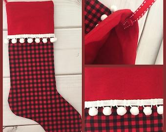 Red and Black Check, Plaid Christmas Stocking, white pom pom trim, buffalo plaid Christmas