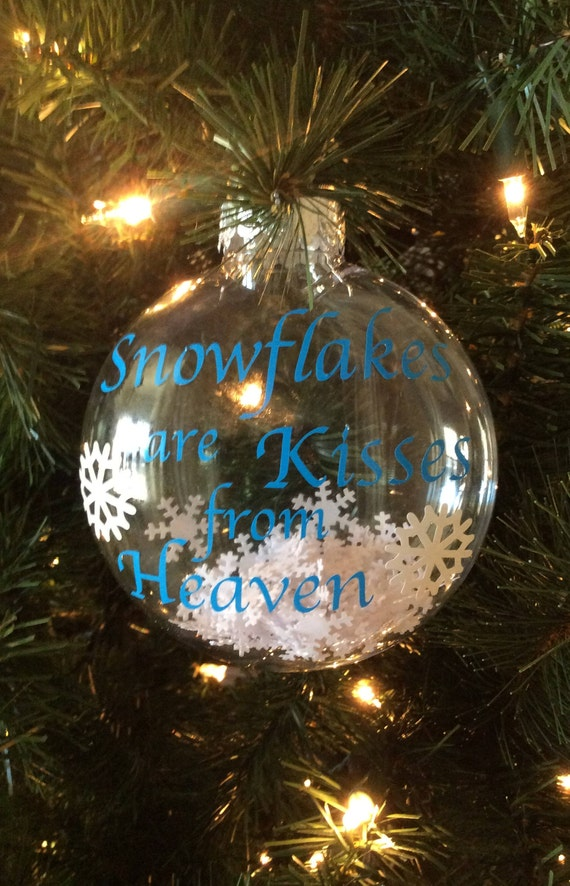 Snowflakes are Kisses from Heaven Plastic Disc Ornament with | Etsy