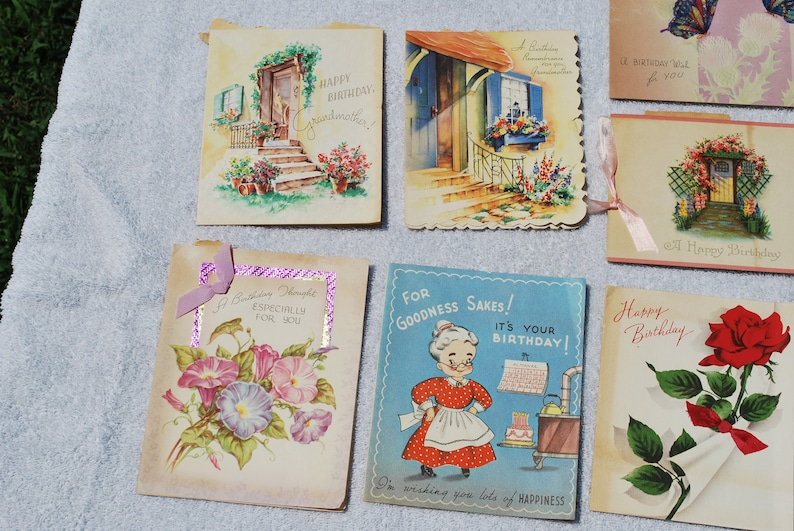 Gibson Brothers Lot B Used Norcross Vintage Lot of 10-1940s Birthday Cards pulled from a scrap book Meryle
