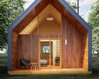 Modern ADU 19' x 28' Catskills Cabin / Guest / Tiny House Plans and Blueprints
