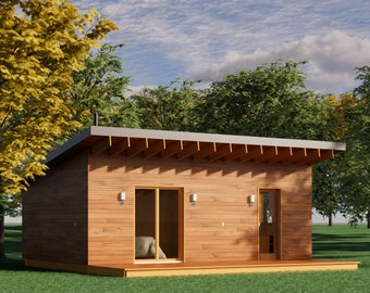 Modern 19' x 28' ADU/In-law Cabin / Guest / Tiny House Plans and Blueprints