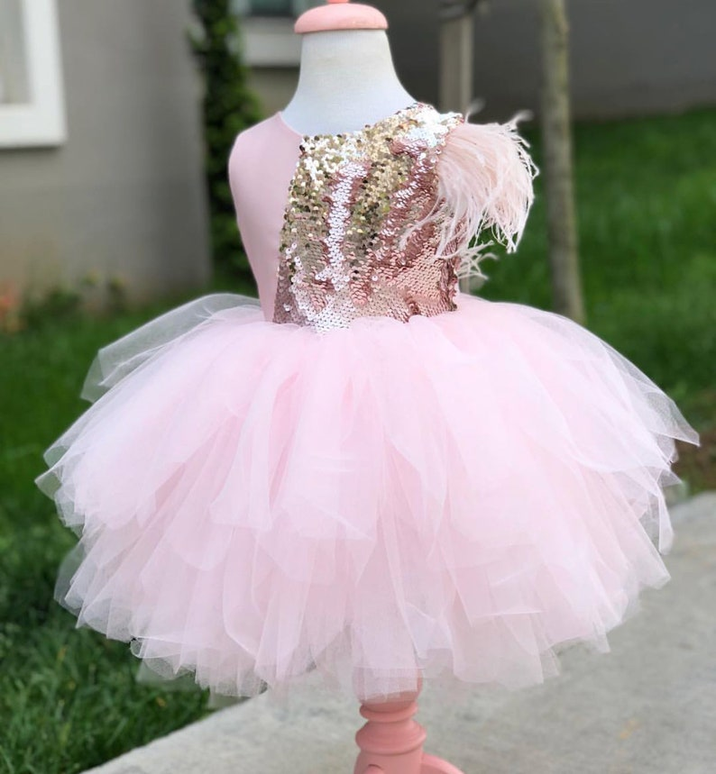 3a3734ae0a5c Girls pink feather fluffy pink princess dress first birthday