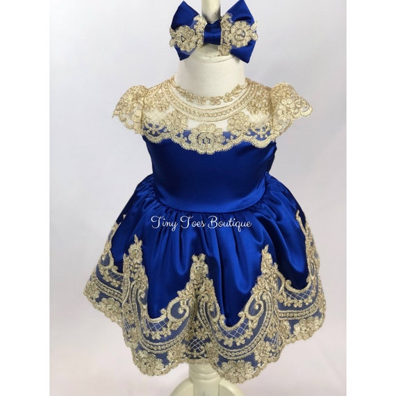 8b9410f5e32 Girls blue and gold dressroyal Christmas dress pageant