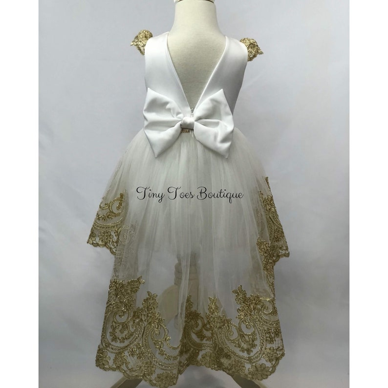 82dc9a834b Girls white and gold dress birthday dress Christmas gown.