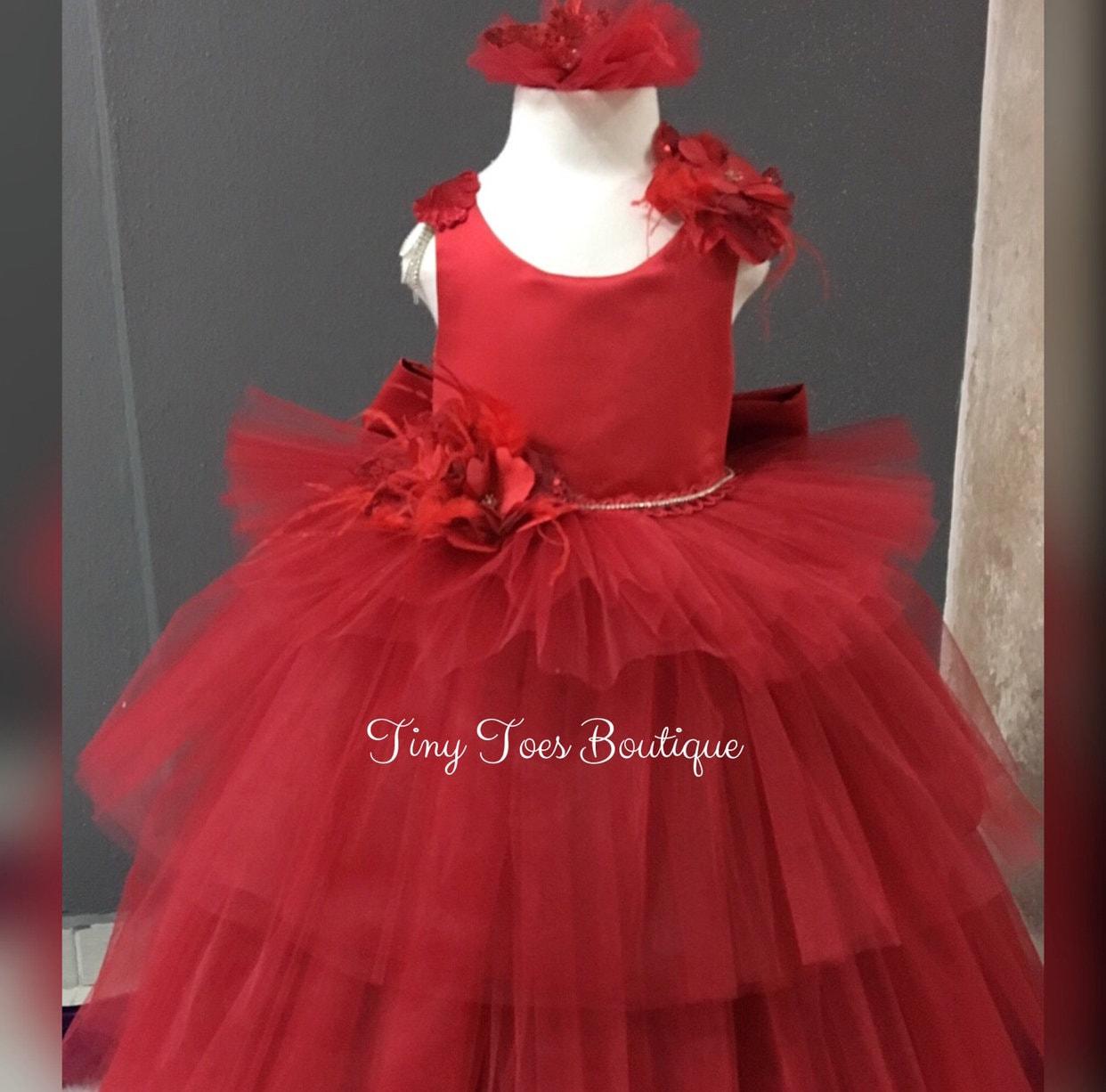 Girls red Christmas dress birthday dress Christmas gown. | Etsy
