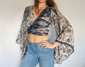 Wrap around top   Boho wrap top  Resort Wear  Clothing from India  gifts for her  boho top  size medium  Gypsy top  summer crop top