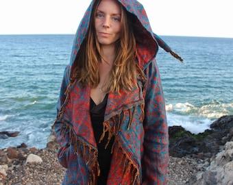 Hooded Festival Blanket Cloak • Boho Unisex Paisley Cape Coat • Warm Poncho Cape • Vegan Wool Long Jacket Poncho Shawl • Calluna Clothing