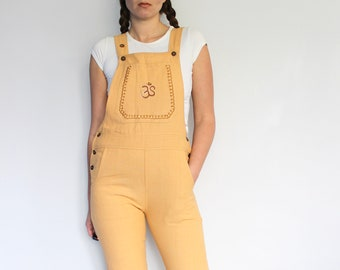 1b725495d9f8 Yellow Cotton Dungarees + Hand Embroidered Ohm • overalls • pocket jumpsuit  • hippy festival clothing • boho hippie • natural khadi linen
