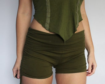 0d60a43475 Army Green Fold Over Ruched Booty Shorts Adjustable Drawstring • yoga high  waist hot pants • sexy festival • boho hoop hooping dance hippy