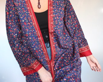 448d3e96a4 Vintage Navy Cherry Long Sleeve Kimono • 60s 70s festival • sari maxi  jacket • robe duster dressing gown • kaftan boho bell tunic