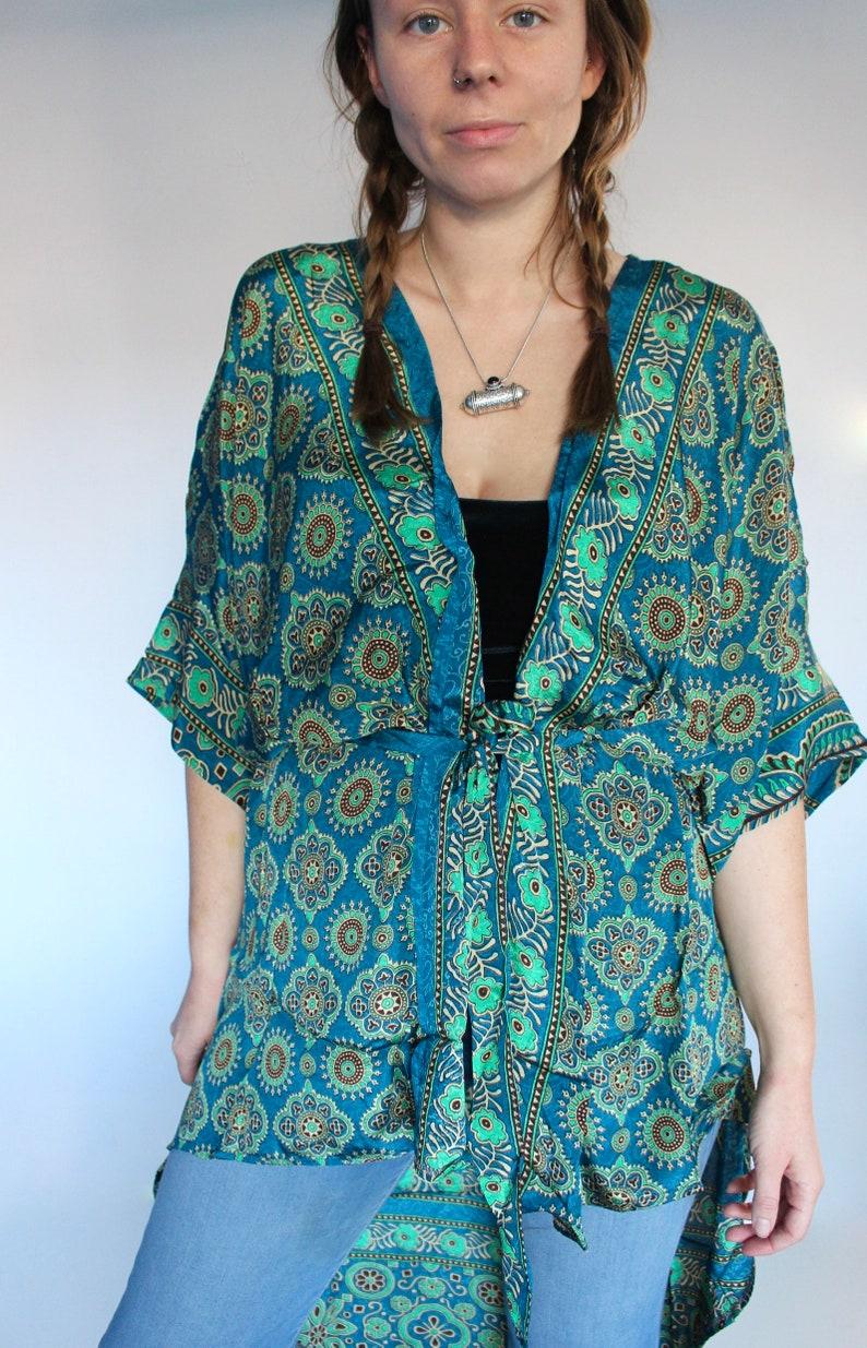 Silk Kimono Geometric Teal Short Wrap Dress \u2022 70s Festival Kaftan Tunic Sari Jacket \u2022 Bridesmaid Silk Robe \u2022 Beach Cover Up \u2022 Boho Duster