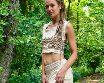Raw Cotton Tribal Crop Top • Block Print Crop Top • White Lace Up Crop • Earthy Frayed Natural Clothing Linen Festival Wear • Calluna