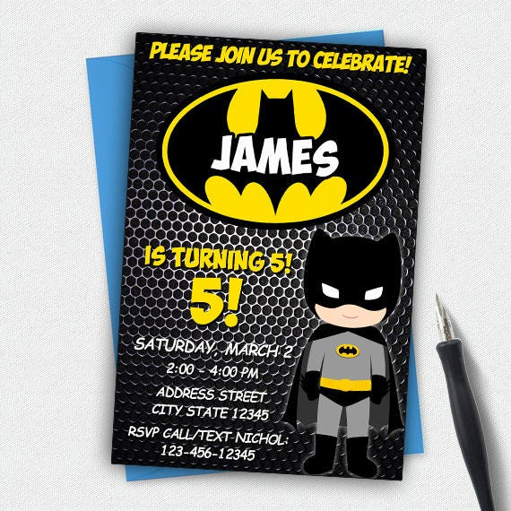 Batman Birthdaybatman Birthday Invitationbatman Etsy
