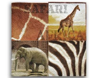 657 elephant 4 Single paper decoupage napkins.Africa savanna sunset
