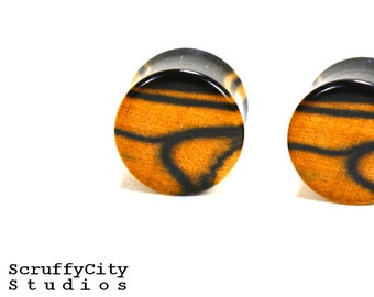 Black & White Ebony Double Flare Plugs
