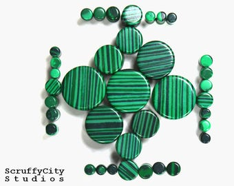 Malachite Double Flare Plugs