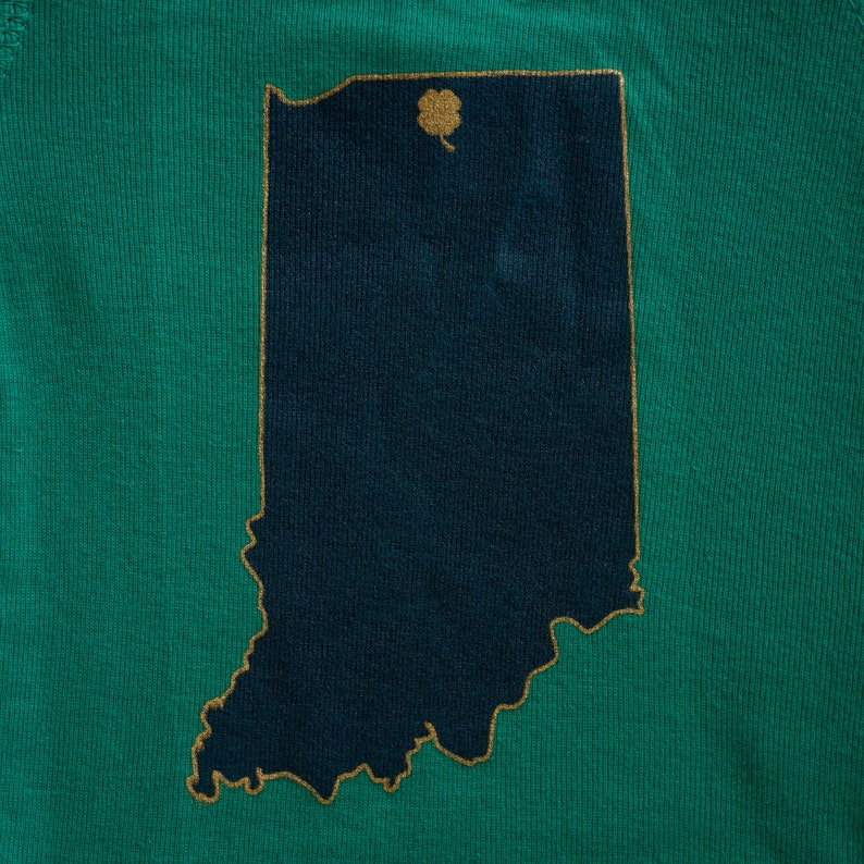 Notre Dame Fighting Irish Inspired Baby Bodysuit State Design with Clover on South Bend
