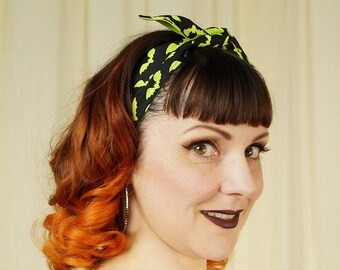 Cotton Self Tie Hairband Retro Reversible Rockabilly Green Bats Hair Scarf