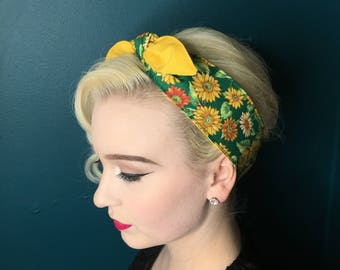 Cotton Self Tie Hairband Retro Reversible Rockabilly Sunflowers Hair Scarf