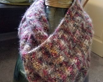 Hand Crocheted Mohair Infinity Scarf