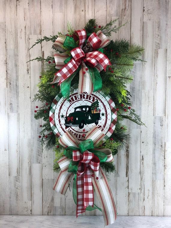 Christmas Wreath For Front Door Farmhouse Swag Farmhouse Etsy