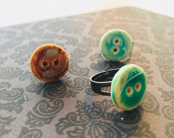 Antique Looking Button Rings