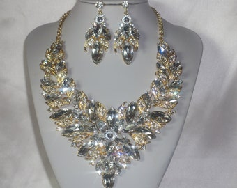 drag queen necklace bridal wedding necklace pageant prom Quenceanera necklace statement necklace Black rhinestone necklace set ballroom