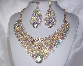3PC Gold W AB Iridescent Rhinestone Necklace Earrings /& Bracelet Set //17226