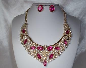Pink necklace set | Etsy