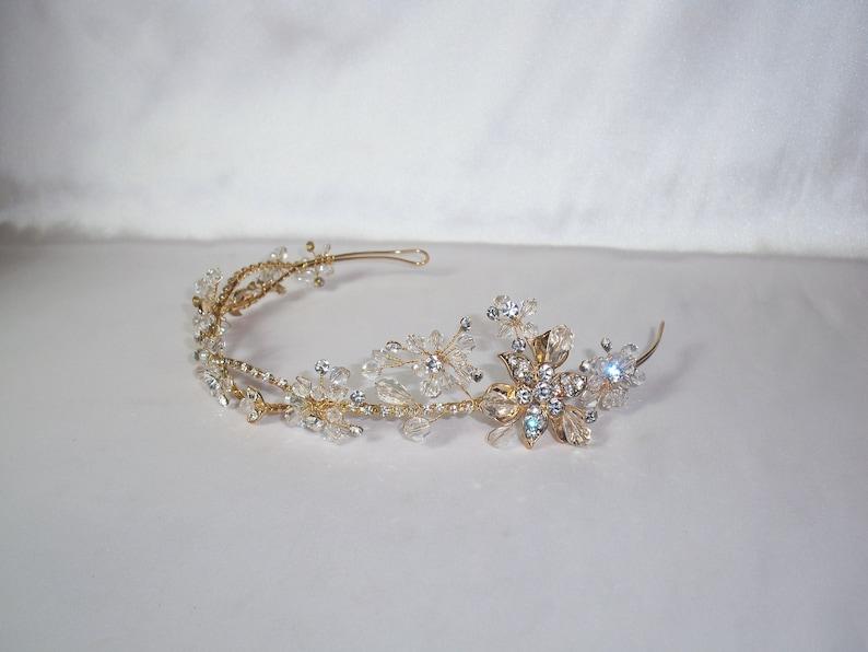 Bridal Crown Rhinestone Tiara Gold Floral Tiara\uff0cBotanical Bridal Tiara Bridal Wedding Headpiece Leaf Flower tiara headband Wedding Crown