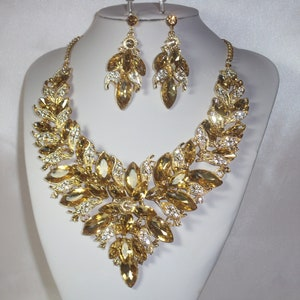 statement necklace gold necklace set wedding necklace,ballroom dance necklace,drag queen necklace,pageant necklace Champagne necklace set