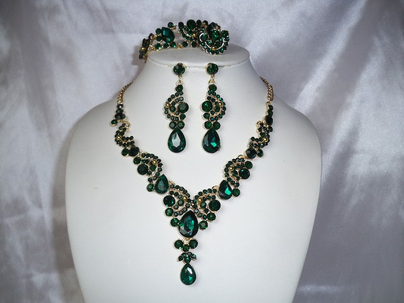 prom Quenceanera necklace set statement necklace green rhinestone necklace pageant necklace Green necklace set ballroom dance necklace