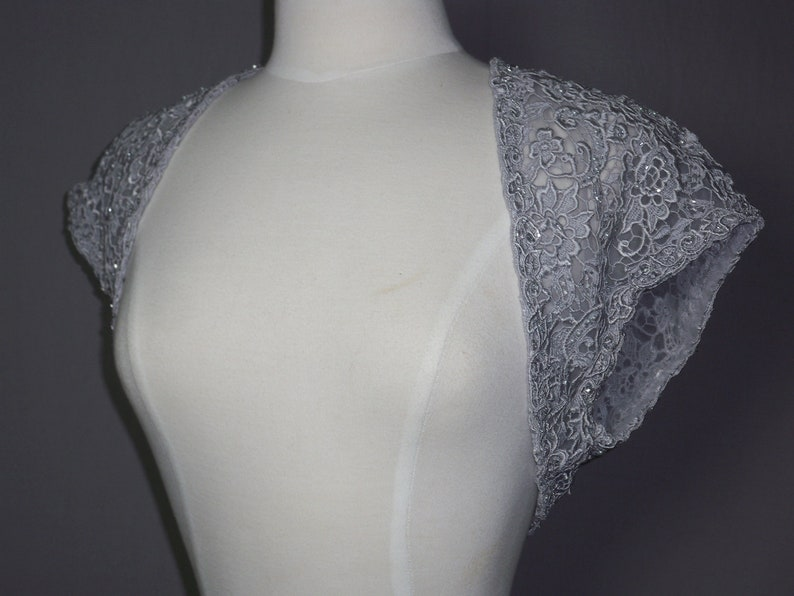 New grey lace beaded shrug,beaded bolero,bridal cover up,mother of the bride jacket lace evening toip formal lace jacket,fancy dinner shrug