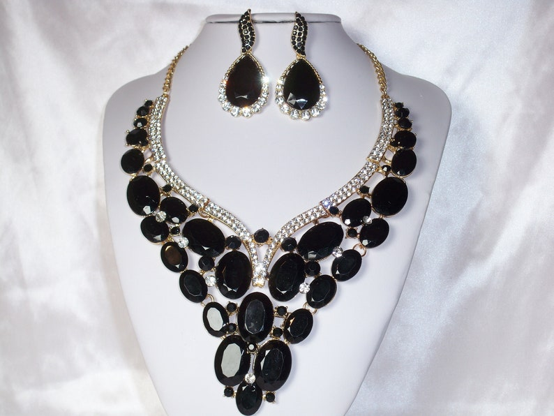 bridal wedding necklace ballroom drag queen necklace Black rhinestone necklace set statement necklace pageant prom Quenceanera necklace