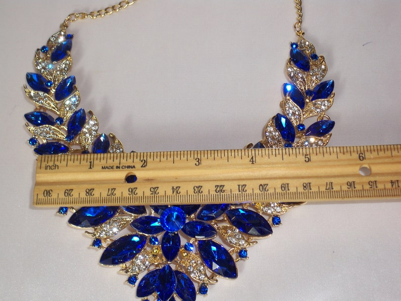 wedding necklace pageant necklace Blue rhinestone statement necklace set drag queen necklace Quenceanera prom necklace bridal necklace