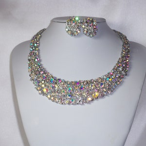 rhinestone necklace prom pageant party necklace Bridal wedding MOB rhinestone necklace set statement ballroom dance drag queen necklace