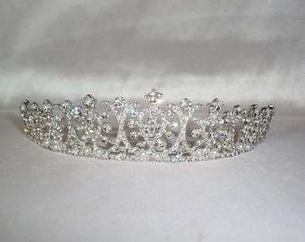 Rhinestone crown tiara, bridal tiara, prom tiara, Quenceanera tiara, birthday tiara, wedding crown, princess tiara, wedding tiara, headband